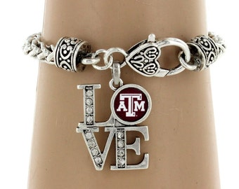 "Texas A&M  - ""Love"" Charm, Bracelet, Earrings or Necklace"