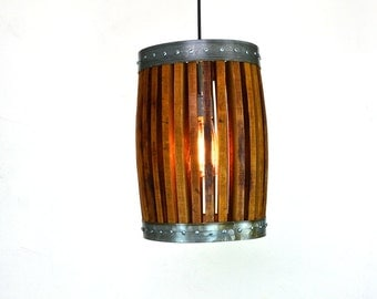 "Wine Barrel Pendant Light - CRAFTSMAN - ""Nacelle"" - 100% RECYCLED"