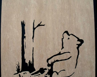 Banksy Winnie The Pooh Bear Trap Wooden Stencil