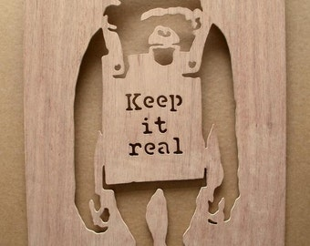 Banksy Keep It Real Chimp  Wooden Stencil