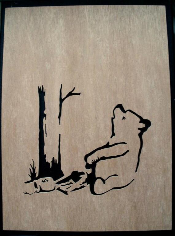Banksy Winnie The Pooh Bear Trap Wooden Stencil By Existencil