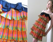 Tiered Neon Plaid Mod Vintage 60s Cocktail Party Mini Dress- Bright Colorful Taffeta Ruffle Fluorescent Hot Pink Short Minidress Summer XS S