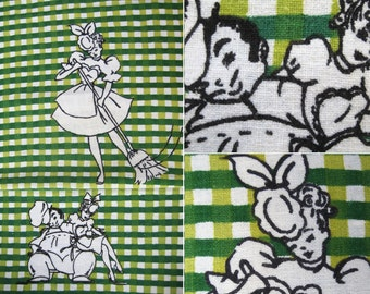 Vintage 50s French Maid & Chef Kitchen Towel - Startex Bright Colorful Lime Grass Green Plaid Cartoon Print Cotton Linen Graphic Dish Towel