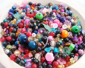 Bead Mix, 2oz of Mixed Beads, Glass Beads,  Bead Soup, Medium and Large Bead Mix, Destash Beads, Beginner Bead Mix
