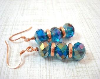 Blue Drop Earrings, Copper Earrings, Blue Earrings, Drop Earrings, Copper Jewelry, Crystal Earrings, Metallic, Beaded Earrings, Marine Blue