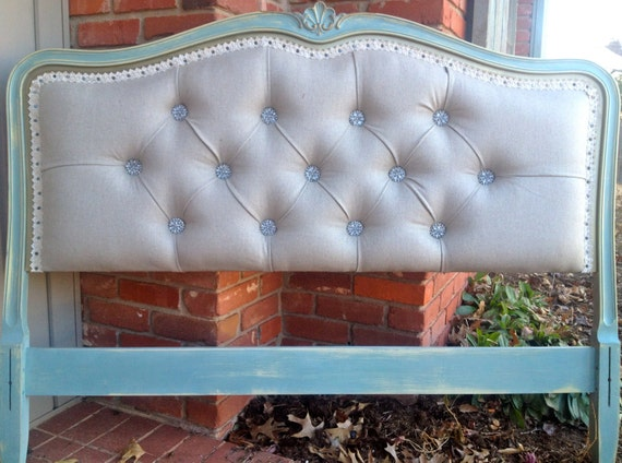 Vintage Upholstered Headboard Linen Turquoise By