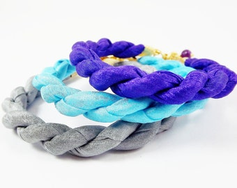 Instant Stacking Silk Bracelet Set -  Royal Purple, Turquoise, Grey Gray - Fashion - No:2