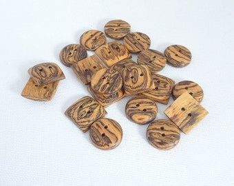 "Square Buttons  5/8"" Handmade Bocote Wood Buttons 10 Buttons"