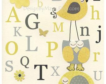Nursery Letters, Nursery Alphabet ABC, Wall Letters for Kids Room, Nursery Room Letters, ABC Art // Nursery Owl Bird Elephant // Yellow Gra