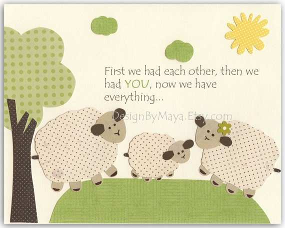 Baby Room Decor, Nursery wall Art, lamb, sheep..First we had each other..match the colors of sweet lambie, kids room art, childrenbaby shee