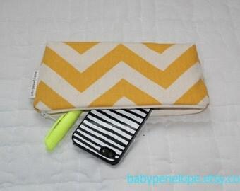 Pencil Case/Cosmetic Bag/ Gadget Case - Chevron - Yellow and Cream