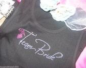 Team Bride Rhinestone Tank Top . Team Bride Bling Shirt with hot pink shoe . Ladies bling shirts . Bridal Party Glitter shirts.