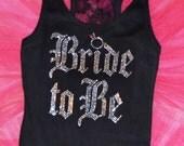 4 Bridesmaid half lace rhinestone Tank Top Shirts. Bridal Entourage Lace tank top. Bridal Party. Bride To Be. Bachelorette party tanks.