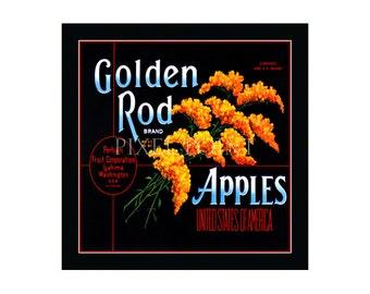 Small Journal - Golden Rod Brand Apples  - Fruit Crate Art Print Cover
