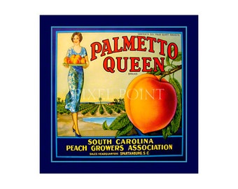 Blank Journal - Palmetto Queen Peaches - Fruit Crate Art Print Cover