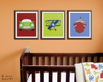 Transportation wall art.Tranpsortation prints for boys nursery decor. Kids wall art car, boat, airplane prints. SET OF 3 prints by Wal