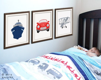 Transportation wall art.Tranpsortation prints for boys nursery decor. Kids wall art car, boat, airplane prints. SET of ANY 3 prints by Wal