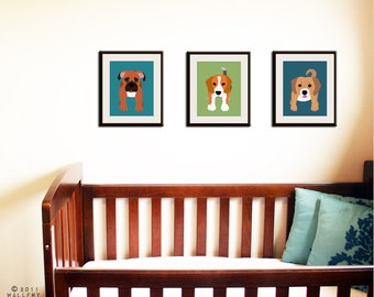 Dog Prints. Dog nursery art prints. Custom modern puppy pictures from kids wall art, baby and child decor. SET OF 3 prints by WallFry