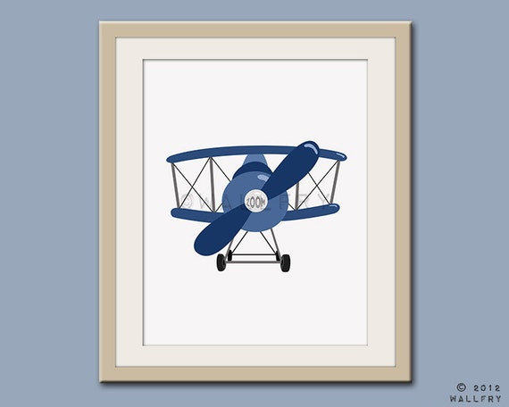 Transportation prints airplane print wall art for boys for Airplane wall decoration