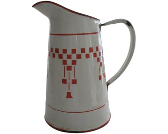 Red Check LUSTUCRU Vintage French Enamelware Pitcher