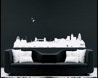 On Sale LONDON - WALL DECAL : London Skyline with Big Ben, Tower Bridge, the Gherkin, Foster, all along the river Thames