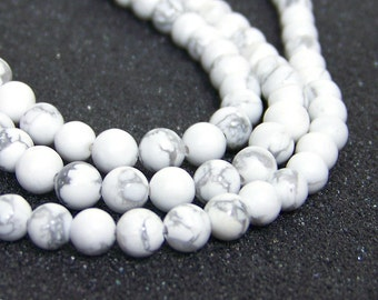 white howlite beads, 6mm round natural gemstone bead strand (631S)