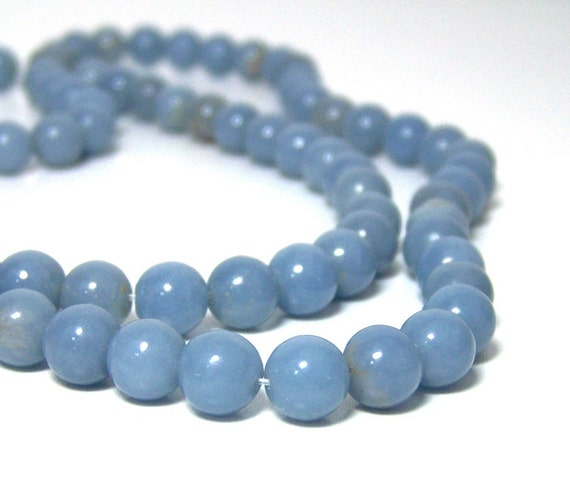 8mm angelite light blue gemstone bead
