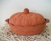 Large Vintage Dinnerware  Clay Bowl with Cover for  Thanksgiving Christmas Party
