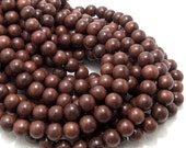 Magkuno Wood, 10mm, Dark, Round, Smooth, Natural Wood Beads, Large, Full Strand, 44pcs - ID 1373-DK
