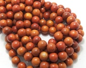 Sibucao Wood 12mm, Round, Large, Smooth, Natural Redwood Beads, Full 16 Inch Strand, 36pcs - ID 1403