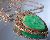 Antique Long 1930s Gilt Brass Faux Carved Jade Pendant Necklace 24 inch