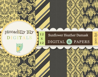 Instant Download - Sunflower Heather Damask -- 12x12 Digital Printable Paper Pack Yellow Gray -- Buy 3 Digital Paper Packs Get 1 FREE