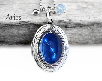 """Get 15% OFF - Handmade Resin """"Aries"""" Constellation Sign Silver Oval Locket with Sterling Silver Plated Necklace - Labor Day SALE 2017"""