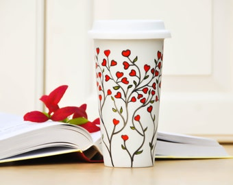 White Ceramic Travel Mug - Red hearts eco cup - To Go Mug with Lid - Hand Painted Insulated Tumber - Valentine's Day Gift - Love