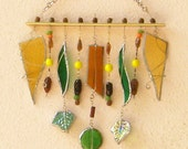 Valentines day Green, Brown Yellow Wind Chimes Stained Glass Sun Catcher - Gift Under 50
