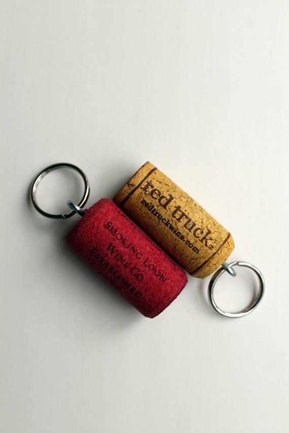 wine cork keychains pair red and yellow keychains cork key. Black Bedroom Furniture Sets. Home Design Ideas