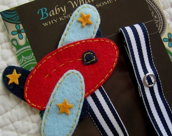 Baby Boy Pacifier Clip, Airplane Pacifier Clip, Baby Plane Pacifier Clip, Pacifier Holder, pcplane02