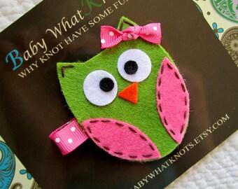 Owl Hair Clip, Green Owl Hair Clip, Baby Hair Clippies, Owl Barrette
