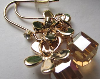 Fashion Jewelry Smooth Flower with AB Faceted square Glass Crystal , Silver Gold Dangle Earrings
