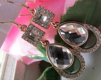 Fashion Jewelry- Lovely Smooth Copper  Oval Crystal Glass Rhinestone with Square Crystal Stud Earrings
