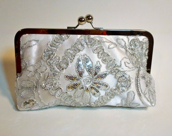 Bridal Clutch Silver Princess Beaded and sequined Clutch