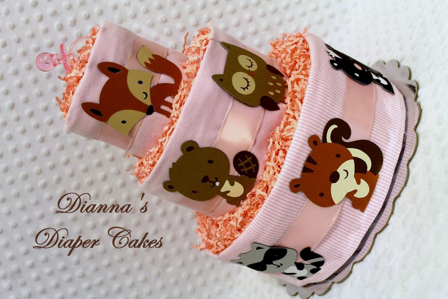 Baby Diaper Cakes Pink Woodland Animals Forest Creatures Baby