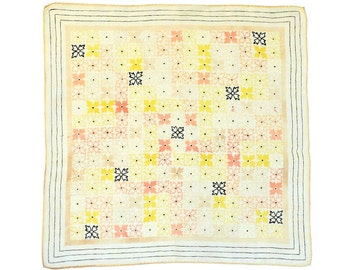 RETRO HANKIE Mid-Century, Geometric Floral Design, Grid Pattern, Peach, White, Pale Yellow, Linen, Hand Rolled Hem, Excellent Condition