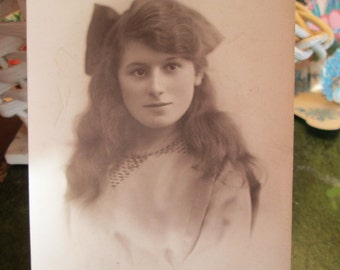 Real Photo Postcard Beautiful Young Woman  Id'ed as E. M. Weatherley 1910 - Long Hair - Antique Photo