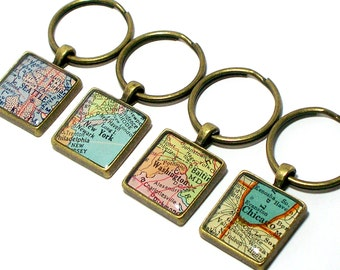 Personalized Vintage Map Keychain. You Select Location Worldwide. One Keyring. Personlised Travel Keychain Gift Gifts For Her. Gifts For Him