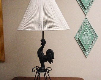 Farmhouse Chic - Rooster Lamp with string lampshade