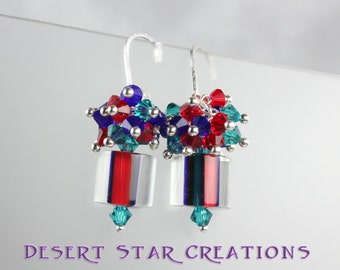 Red Blue Turquoise Cane Glass Cluster Earrings