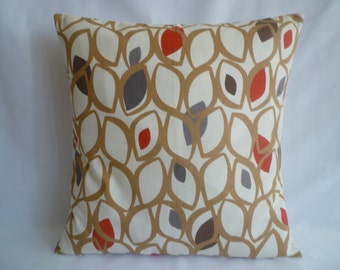 "22"" Red Pillow Eurosham Beige Gray Designer Cotton Cushion Cover. Pillowcase Sham Slip"