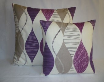 BIG and Small Pillow PAIR Funky Purple Damson Grape Designer Cotton Cushion Covers Pillowcases Shams Slips