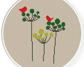 Instant Download,Free shipping,Counted Cross stitch pattern,Cross-Stitch PDF,birds on plants,valentine's day, zxxc0354